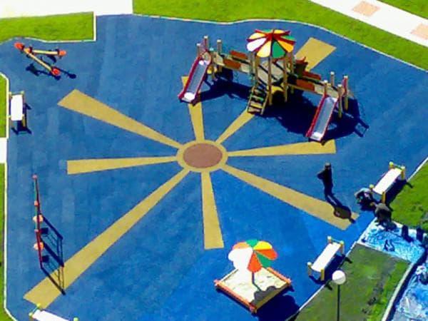 резиновое покрытие для детских площадок Наливные покрытия