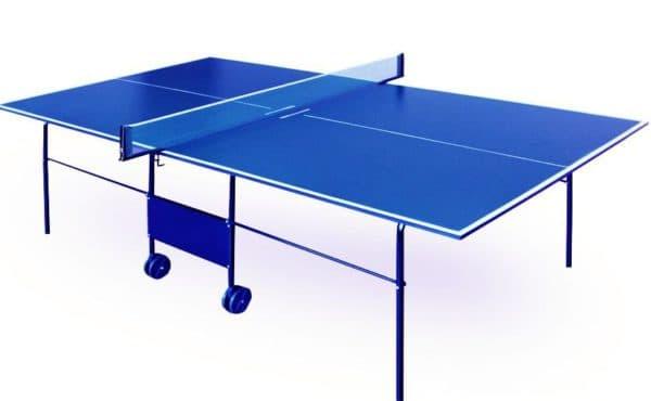 всепогодный теннисный стол для дачи синего цвета
