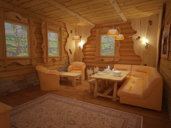 деревянная комната отдыха