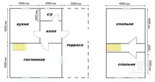 дом 8 на 9 с мансардой на 4 комнаты