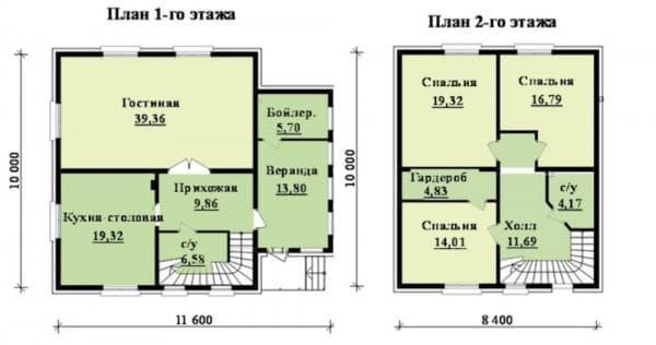 двухэтажный дом из газобетона с гаражом 146 м2