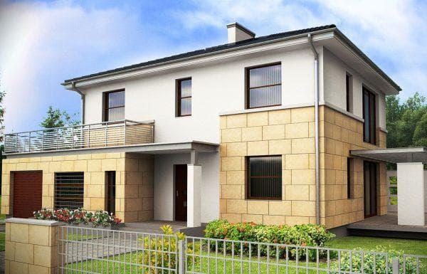 двухэтажный дом из газобетона с гаражом 174 м2
