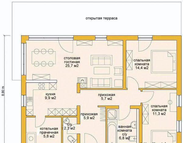 проект одноэтажного дома из газобетона 100 м-2