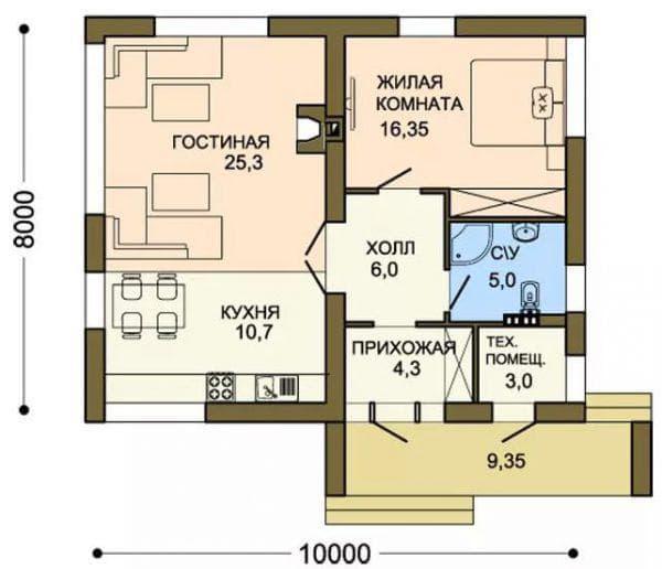 проект одноэтажного дома из газобетона среднего класса