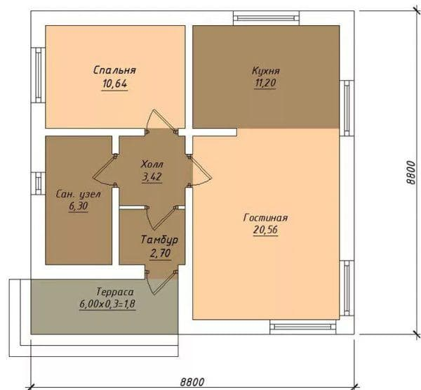 проект одноэтажного дома из газобетона 62,2 м2