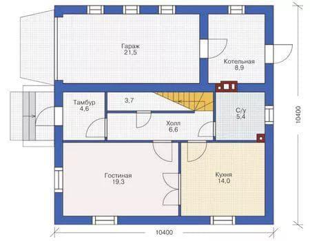 проект одноэтажного дома из газобетона 53 м-2