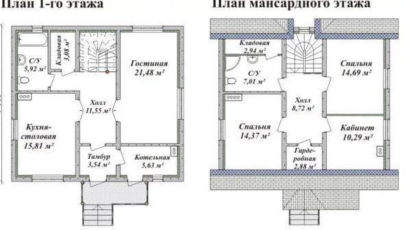 проекты домов из газобетона с мансардой
