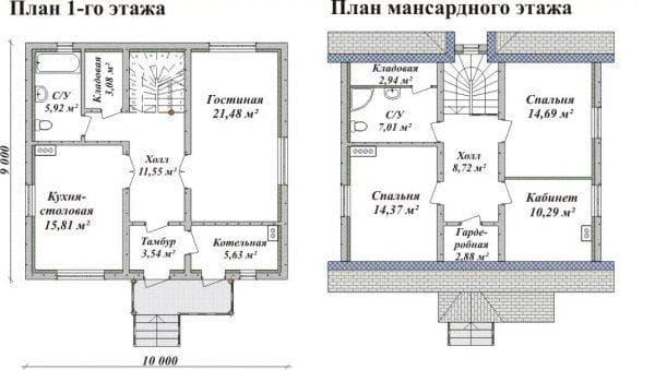 домов из пеноблоков с мансардой