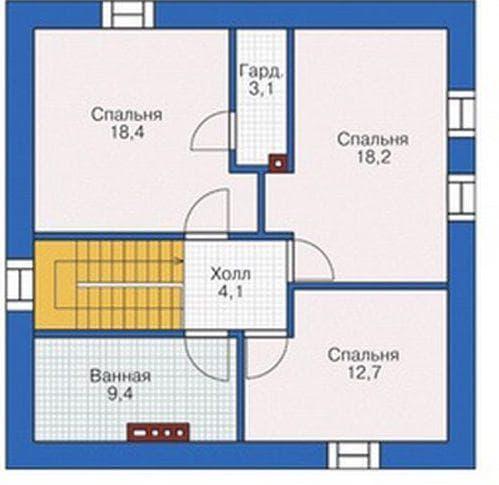 дом с мансардой из газобетона 65 м-2