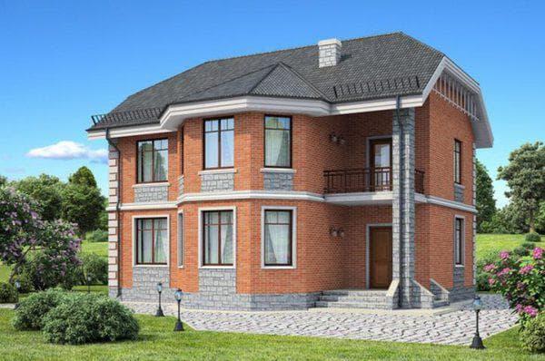 двухэтажный загородный дом из газобетона с чердаком