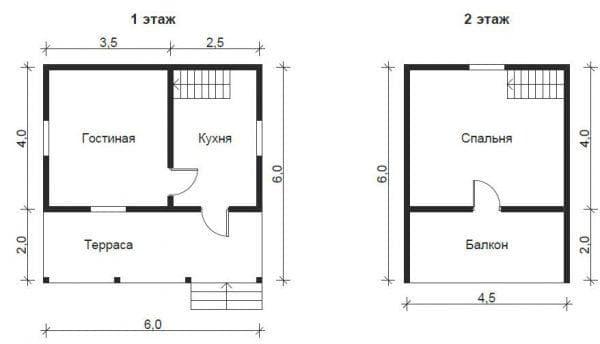 дом 6 на 6 с мансардой без туалета