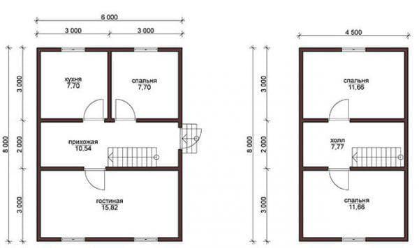 планировка дома 6 на 8 с мансардой