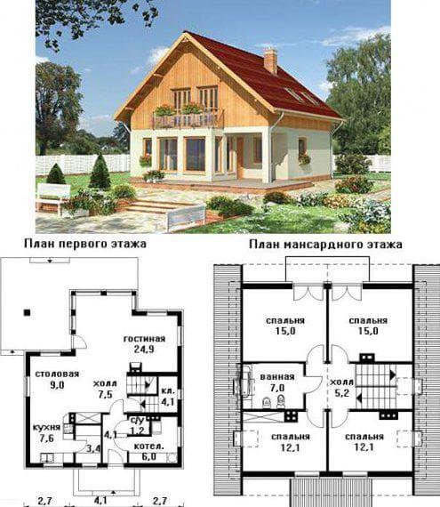 планировка двухэтажного дома 6 на 8 с мансардой