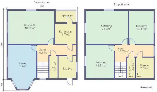 дом 10 на10 с мансардой с 3 комнатами