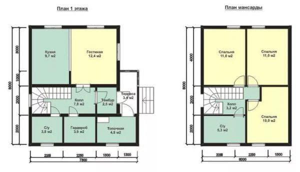 дом 6 на 8 с мансардой и спальнями на верху