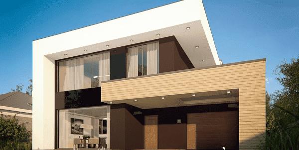 двухэтажный дом с плоской крышей 162 м2 в стиле хай-тек