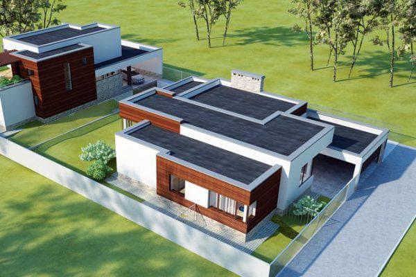 Проекты одноэтажных домов с плоской крышей