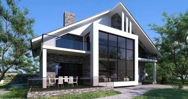 двухэтажный американский дом размером 208 м2 на сваях