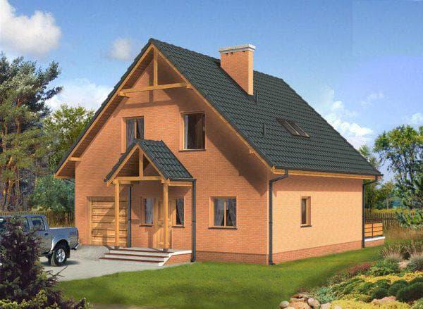 кирпичный дом с мансардой 8 на 10