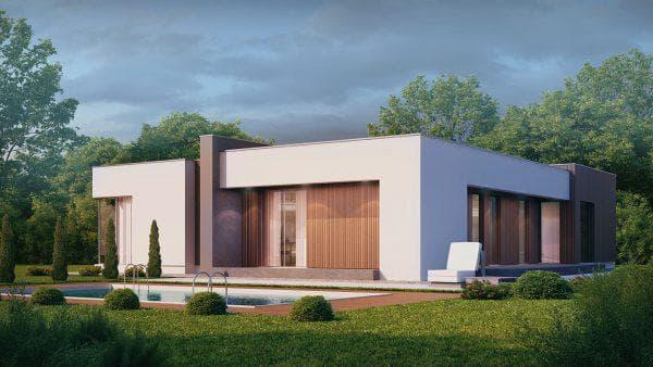 проект деревянного дома с плоской крышей 113 м2