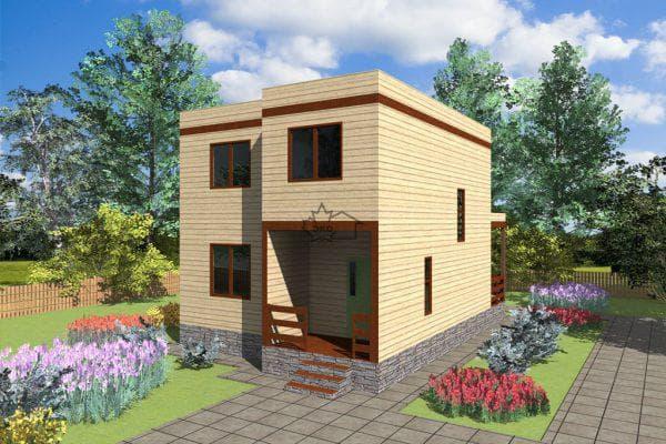 двухэтажный деревянный дом с плоской крышей 69 м2
