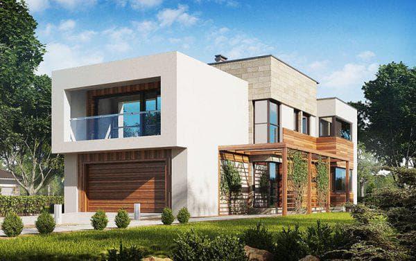дом из пеноблоков с плоской крышей 164 м2 в кубической форме