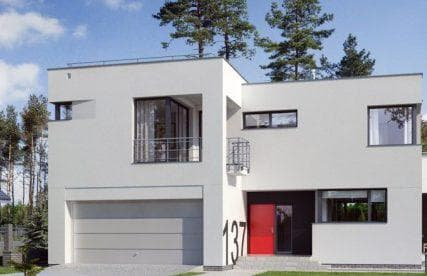 дом с плоской крышей 36 м2 с гаражом квадратной формы