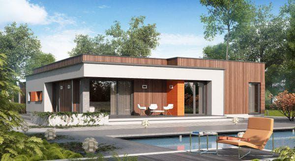 дом с плоской крышей 112 м2 узкой прямоугольной формы