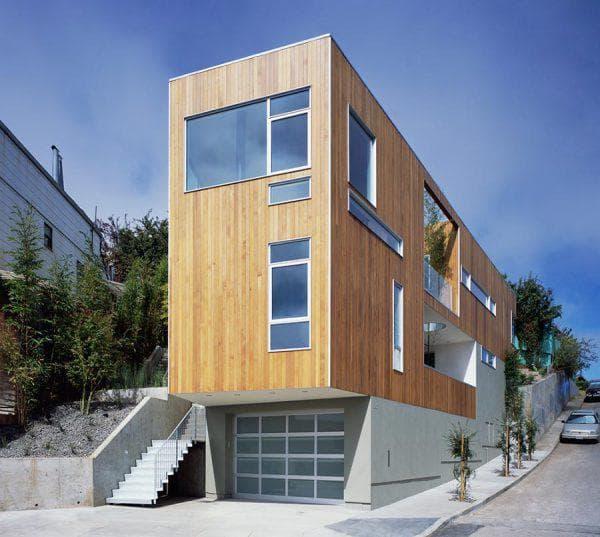 дом с плоской крышей 103 м2 узкой прямоугольной формы