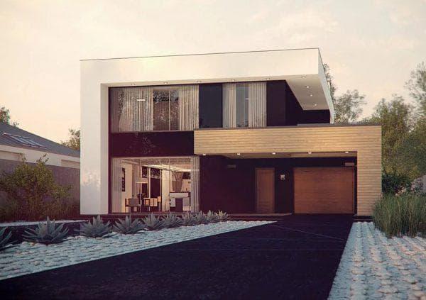 двухэтажный дом с плоской крышей 313 м2 в стиле хай-тек с сауной