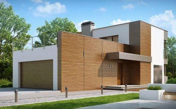 двухэтажный дом с плоской крышей 223 м2 в стиле хай-тек с гаражом