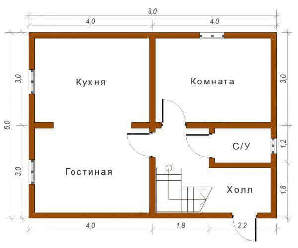 проект одноэтажного дома из пеноблоков 8 на 8