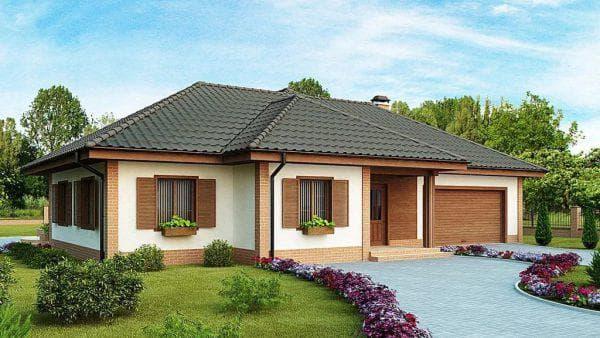 одноэтажный дом в американском стиле на 102 м-2